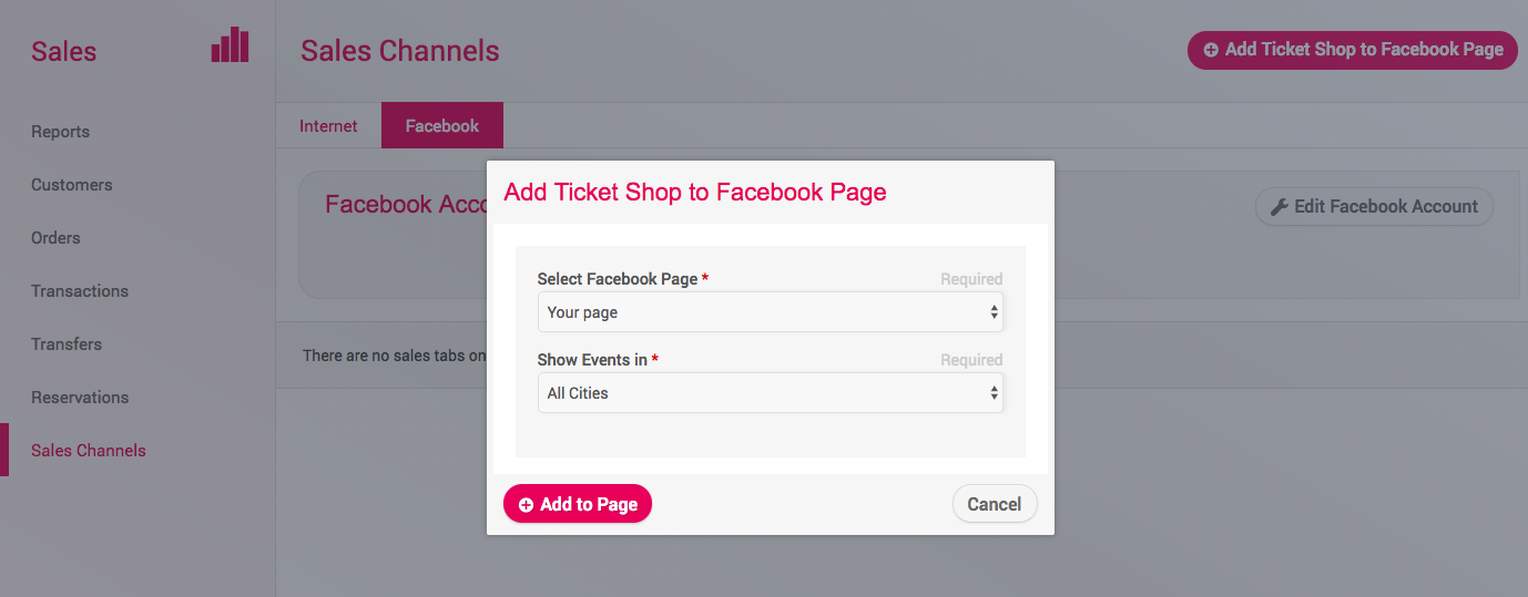 How to add a tickets shop to Facebook