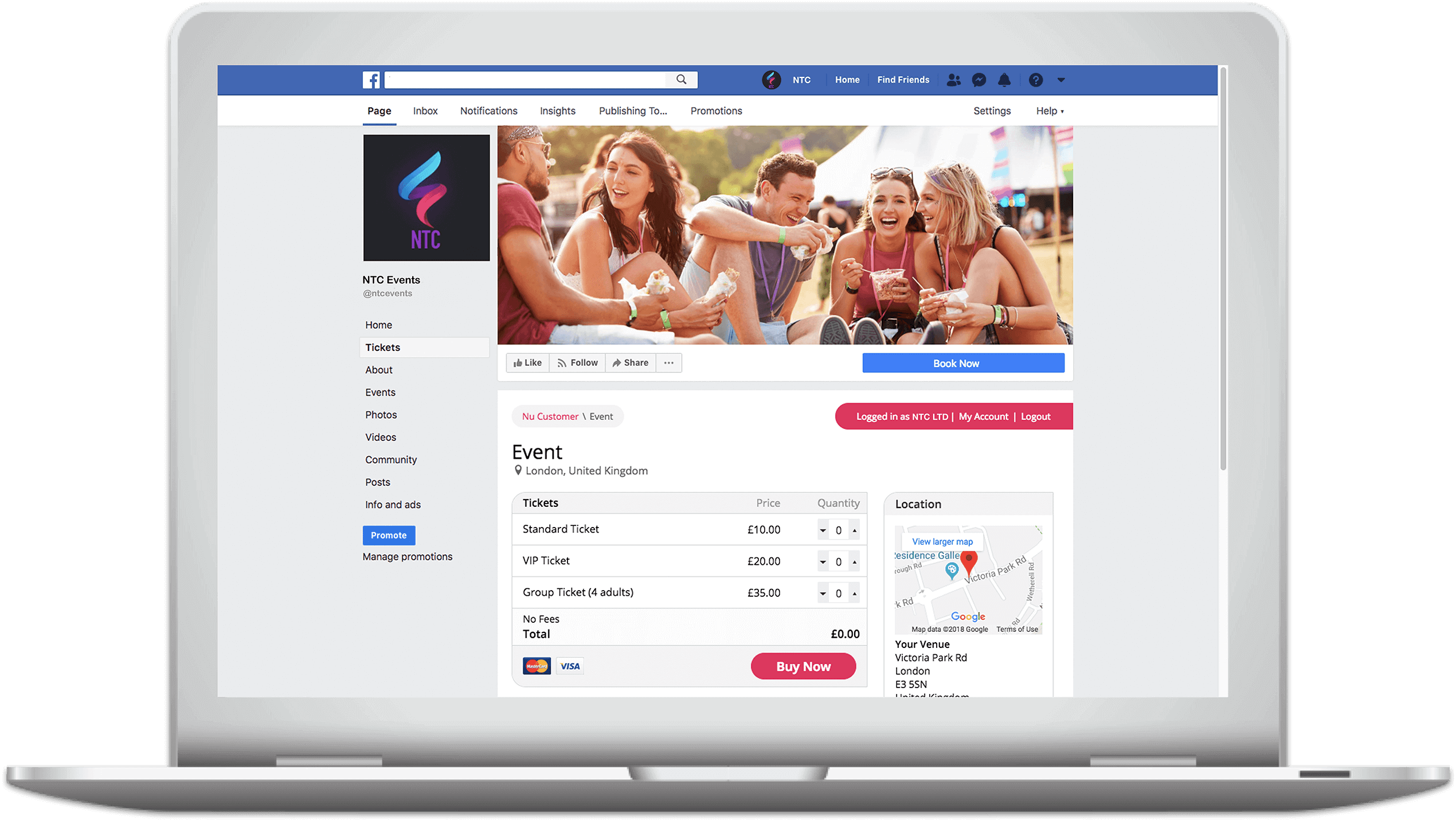 Sell event tickets on Facebook with Nutickets