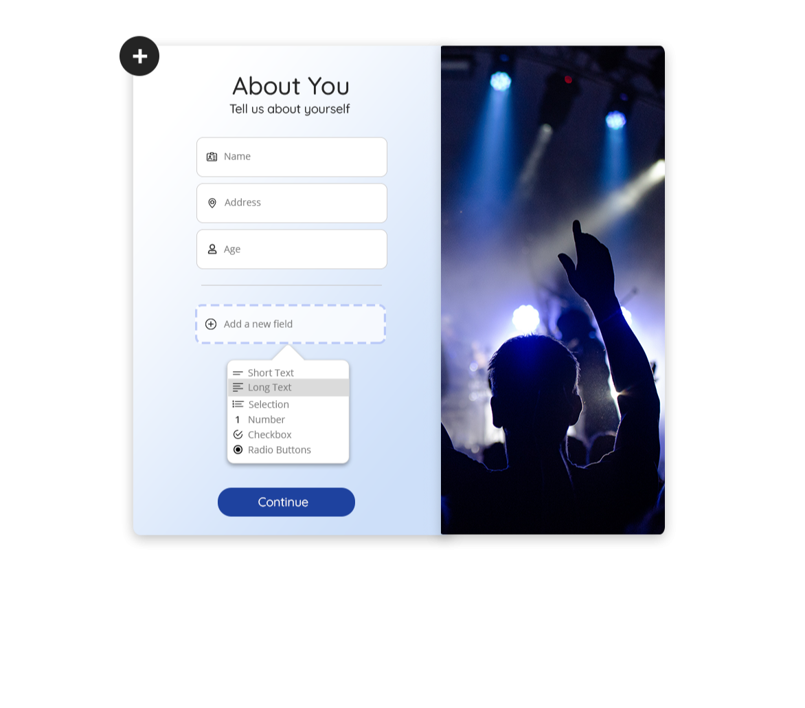 Design, build, and publish your form within minutes